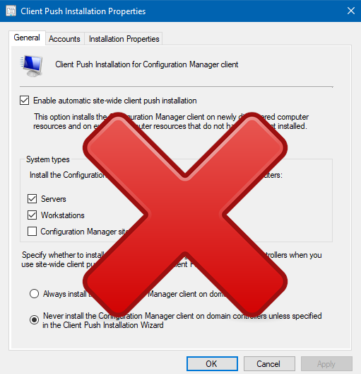SCCM – Exclude Machines from Automatic Client Site Push Install